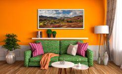 View over the Village of Elterwater down the Langdale Valley - White Maple floater frame with acrylic glazing on Wall