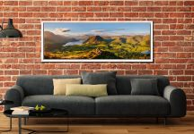 View from the summit of Loweswater Fell down the Buttermere valley - White Maple floater frame with acrylic glazing on Wall