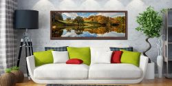 A beautiful sunny autumn morning at Loughrigg Tarn in Langdale - Walnut floater frame with acrylic glazing on Wall