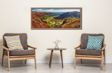 View down the Great Langdale Valley from above Pike Howe - Oak floater frame with acrylic glazing on Wall