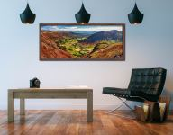 View down the Great Langdale Valley from above Pike Howe - Walnut floater frame with acrylic glazing on Wall