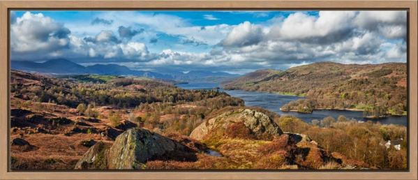 View looking north down Coniston Water towards Langdale