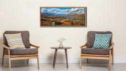 View looking north down Coniston Water towards Langdale - Oak floater frame with acrylic glazing on Wall