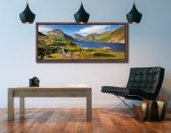The green and pleasant land around Wast Water on a summer afternoon - Walnut floater frame with acrylic glazing on Wall