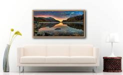 Thirlmere Autumn Dawn - Oak floater frame with acrylic glazing on Wall