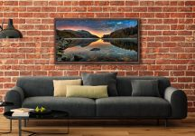 Thirlmere Autumn Dawn - Walnut floater frame with acrylic glazing on Wall