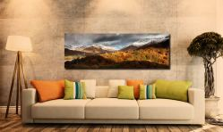 The last of the deep Autumn colours starting to fade as Winter spreads from the high fells around Grasmere - Print Aluminium Backing With Acrylic Glazing on Wall