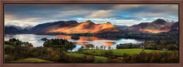 Early morning sunlight on Cat Bells across Derwent Water - Walnut floater frame with acrylic glazing