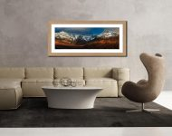 Evening Light on Cuillins - Framed Print with Mount on Wall