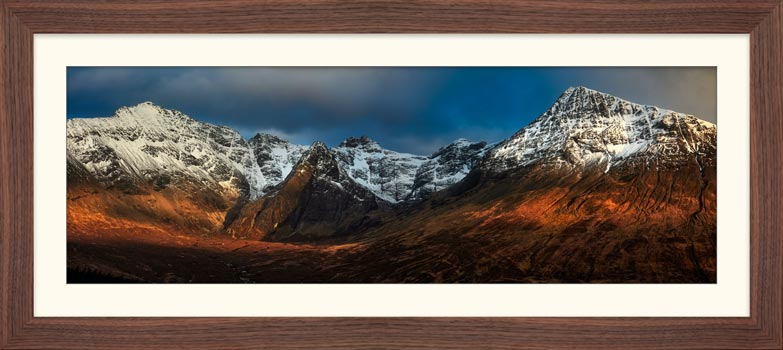 Evening Light on Cuillins - Framed Print with Mount