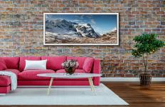 The Three Sisters of Glencoe under a blanket of snow - White Maple floater frame with acrylic glazing on Wall