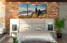 Old Man of Storr and Cuillins - 3 Panel Canvas on Wall