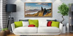 Old Man of Storr and Cuillins - Oak floater frame with acrylic glazing on Wall