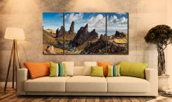 The Leaning Towers of Skye - 3 Panel Wide Centre Canvas on Wall