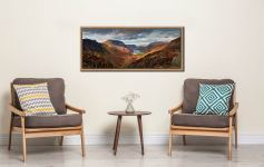 The Buttermere Valley overlooked by High Crag and High Stile - Oak floater frame with acrylic glazing on Wall