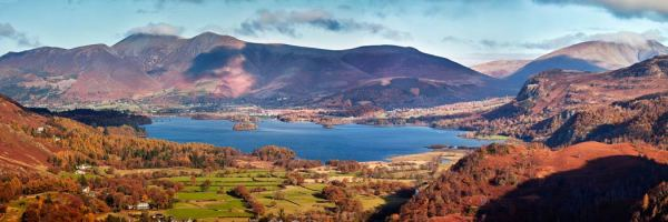 Derwent Water Autumn Panorama - UltraHD Print with Aluminium Backing