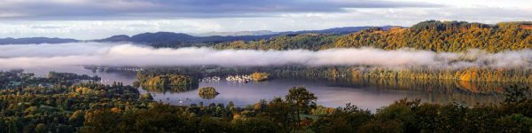 Bowness On Windermere Morning Mists - UltraHD Print with Aluminium Backing