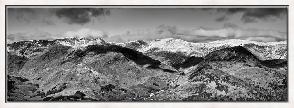Glenridding Mountains Panorama Black White - Modern Print