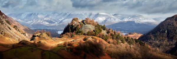 Castle Crag and Snowy Skiddaw - UltraHD Print with Aluminium Backing