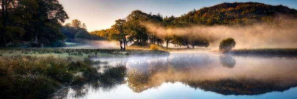 River Brathay Misty Panorama - UltraHD Print with Aluminium Backing