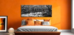 Borrowdale Mill Panorama - Black and white 3 Panel Wide Mid Canvas on Wall
