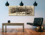 Borrowdale Mill Panorama - Sepia 3 Panel Canvas on Wall