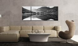 Bright Light on Buttermere - Black and white 3 Panel Wide Mid Canvas on Wall