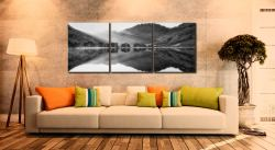 Bright Light on Buttermere - Black and white 3 Panel Canvas on Wall