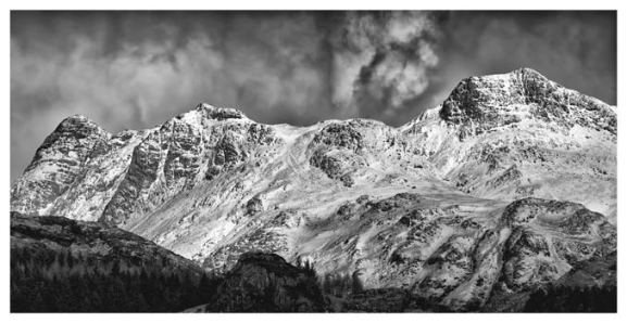 Snow on the Langdales - Sepia BW Print