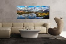 Dawn Clouds Derwent Water - 3 Panel Wide Mid Canvas on Wall