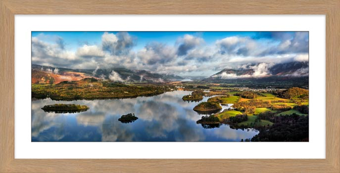 Dawn Clouds Derwent Water - Framed Print with Mount