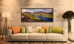 Sunlight on the mountains around Wast Water - Yewbarrow, Lingmell and Scafell - Walnut floater frame with acrylic glazing on Wall