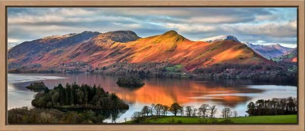 View over Derwent Water to a sunlit Cat Bells