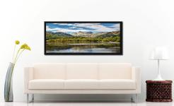 Summer view of the Langdale Pikes over Elter Water - Black oak floater frame with acrylic glazing on Wall