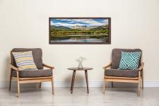 Summer view of the Langdale Pikes over Elter Water - Walnut floater frame with acrylic glazing on Wall
