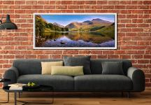 A summer afternoon at Wast Water with Sca Fell reflecting in the calm waters of the lake - White Maple floater frame with acrylic glazing on Wall
