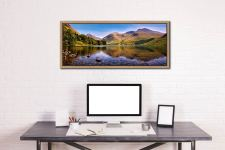 A summer afternoon at Wast Water with Sca Fell reflecting in the calm waters of the lake - Oak floater frame with acrylic glazing on Wall