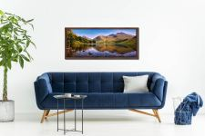 A summer afternoon at Wast Water with Sca Fell reflecting in the calm waters of the lake - Walnut floater frame with acrylic glazing on Wall