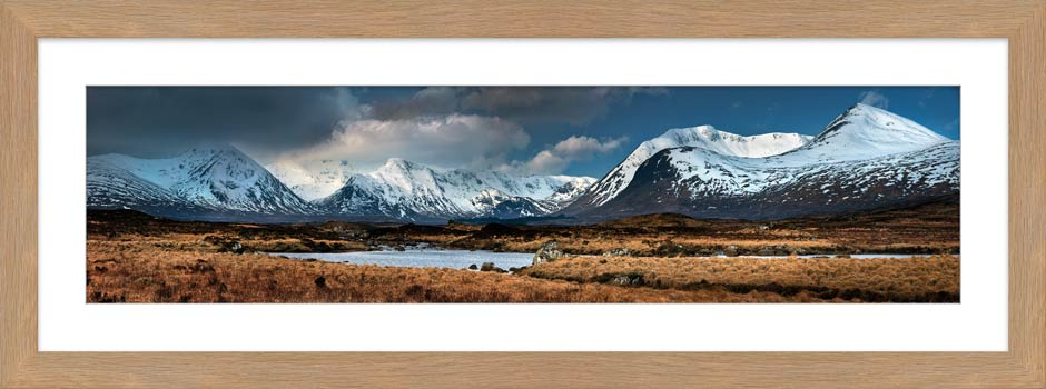 Rannoch Moor Winter Panorama - Framed Print with Mount