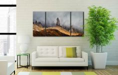 Misty Old Man Storr - 3 Panel Wide Centre Canvas on Wall