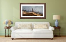 Misty Old Man Storr - Framed Print with Mount on Wall