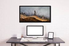 Misty Old Man Storr - Black oak floater frame with acrylic glazing on Wall