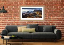 Sunshine and Snow on the Quiraing - Framed Print with Mount on Wall