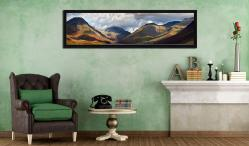 Sunlight on Wasdale Mountains - Black oak floater frame with acrylic glazing on Wall