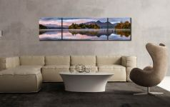 Derwent Isle Dawn Light - 3 Panel Wide Centre Canvas on Wall