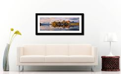 Rising Mists Derwent Water - Framed Print with Mount on Wall