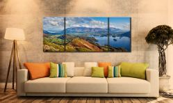 Catbells to Skiddaw - 3 Panel Wide Mid Canvas on Wall
