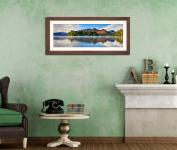Derwent Water Serenity - Framed Print with Mount on Wall