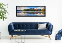 A serene, misty morning at Derwent Water - Black oak floater frame with acrylic glazing on Wall