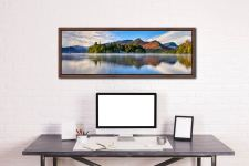 A serene, misty morning at Derwent Water - Walnut floater frame with acrylic glazing on Wall